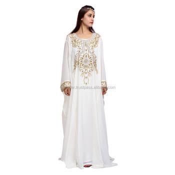 f8e39e66d2 white Crystal embellished fancy dubai abaya Kaftan dress new designs chiffon  satin dubai kaftan wholesale