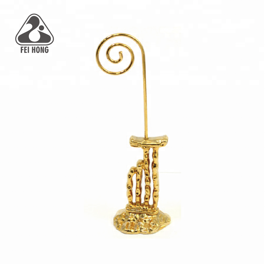 Gepersonaliseerde custom shaped gold 3D memo clip houder