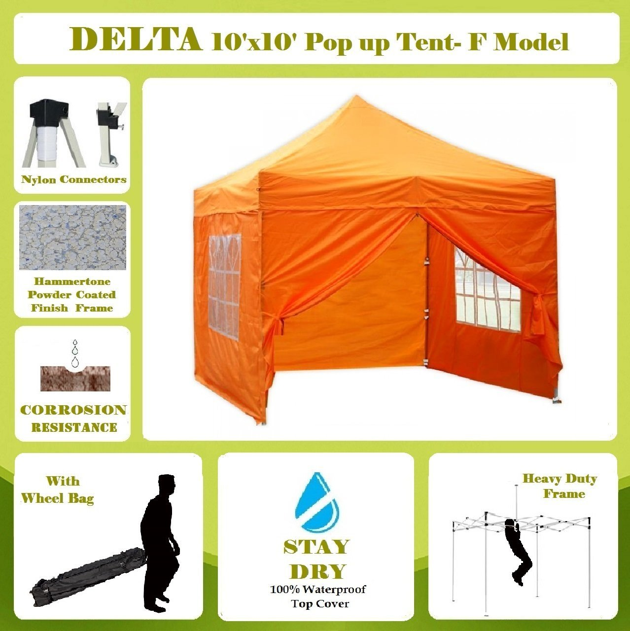 10'x10' Pop up 4 Wall Canopy Party Tent Gazebo EZ Orange - F Model Upgraded Frame By DELTA Canopies