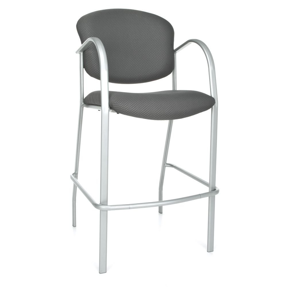 """Set of 2 Danbelle Cafe Height Chair Graphite Fabric/Silver Frame Dimensions: 24.50""""W x 26""""D x 46""""H Seat Dimensions: 19.5""""Wx18""""Dx30.75""""H Back Dimensions: 21""""Wx16""""H Weight: 30 lbs"""