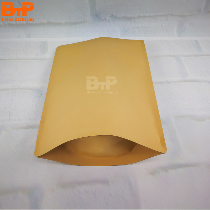 Wholesale Custom design stand up zipper brown kraft paper bag