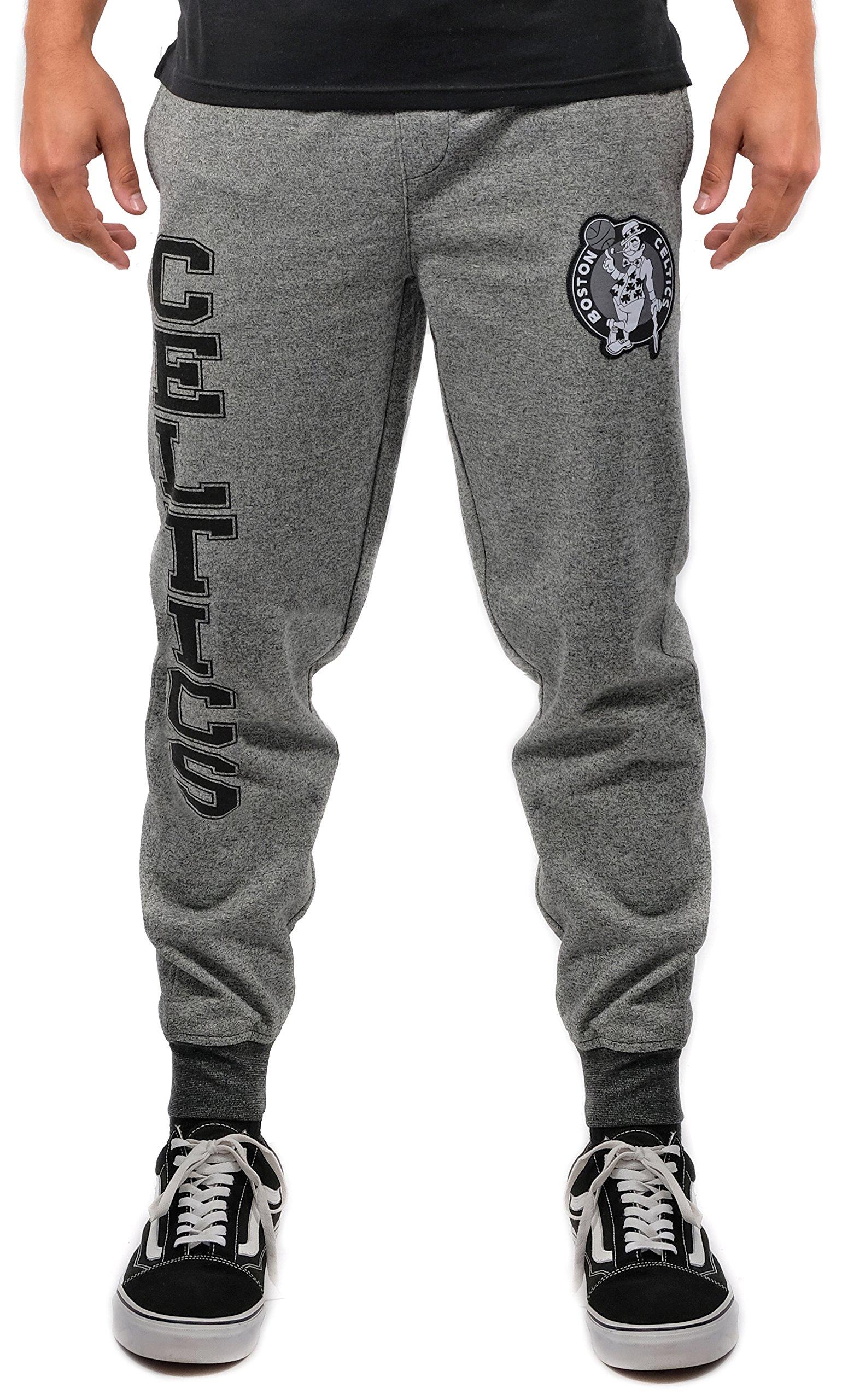 UNK NBA Men's Jogger Pants Varsity Stripe Rib Marl Fleece Sweatpants, Team Logo Gray