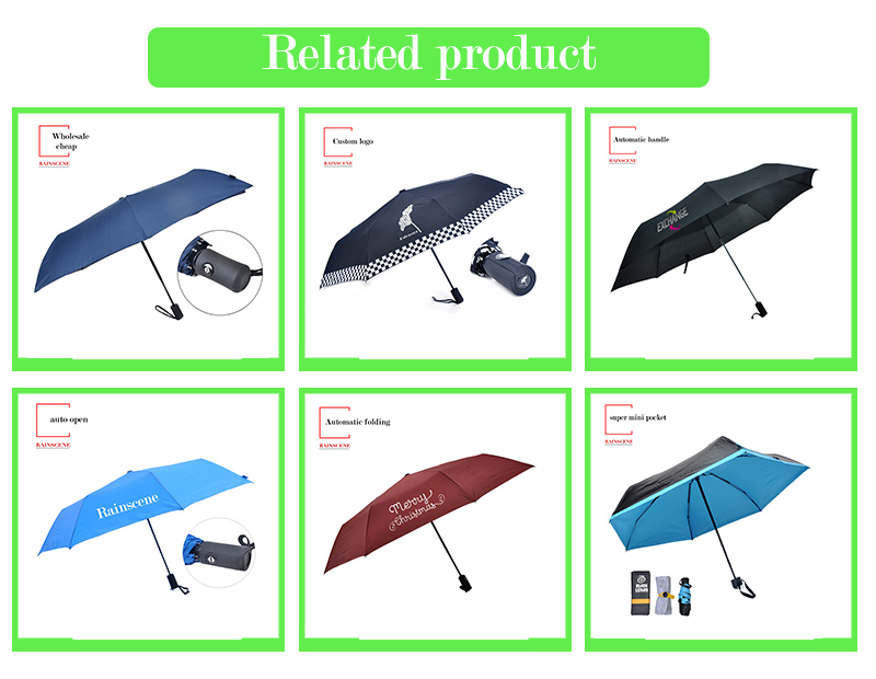 Customized Plastic Handle Auto Open Promotion Umbrella 2 Fold Umbrella
