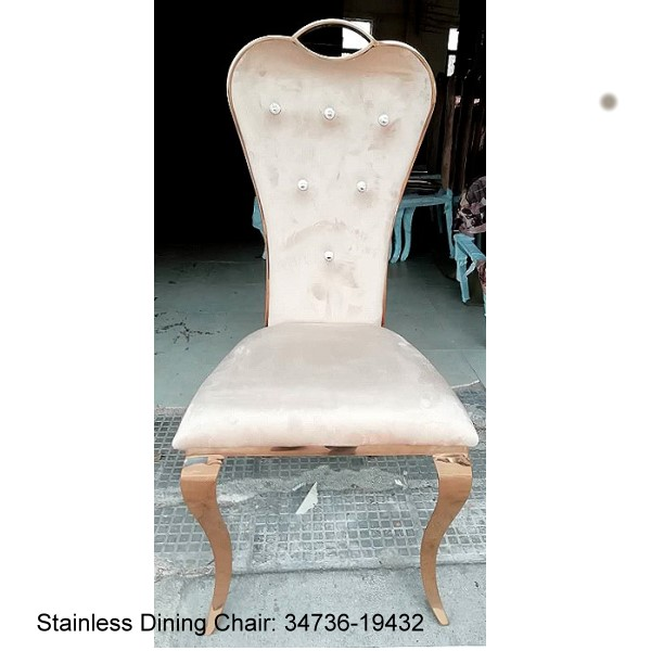 34736-19437  Luxury Stainless Dining Chair