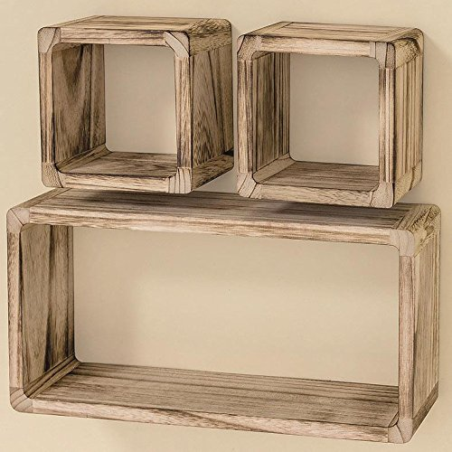 Whole House Worlds The Stockbridge Box Display Shelves, 3 Wall Mounted Pieces, Natural Wood, 2 Cubes 6 1/4 Inches, 1 Rectangle 16 1/2 Inches, By