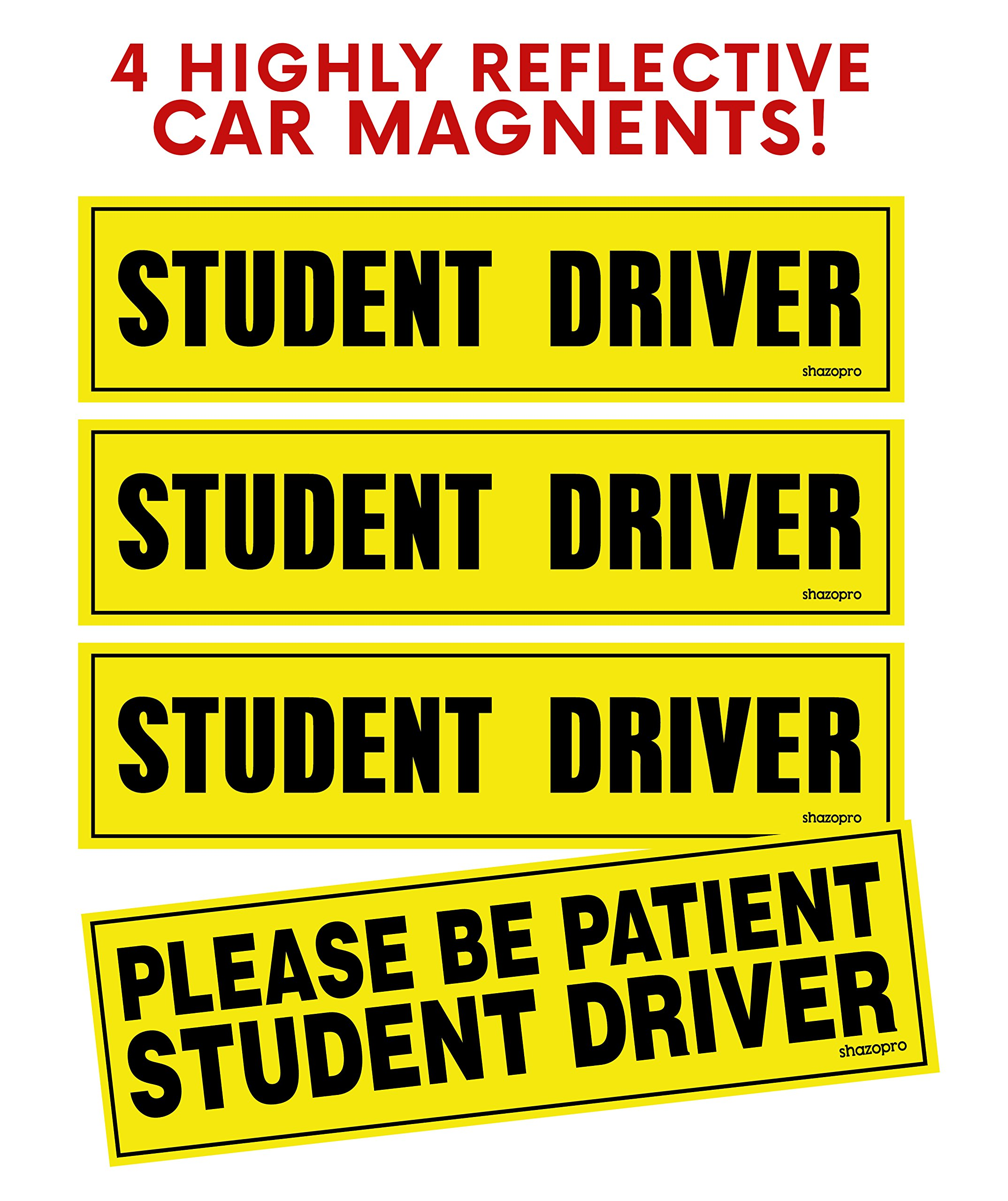 """Set of 4 Student Driver Magnet - """"Student Driver"""" 3 + 1 """"Please Be Patient Student Driver"""" Safety Sign Vehicle Bumper Magnet - Reflective Vehicle Car Sign Sticker Bumper for New Drivers"""