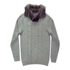 Knitwear Mens check cable with fur neck pullover knit sweater Gauge 12G Content 100% cotton WT 14.5LBS DOZ
