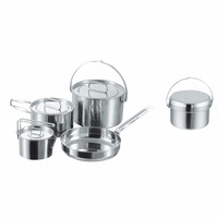 Stainless Steel Cooker Set Camping Cooking Pot / Cookware