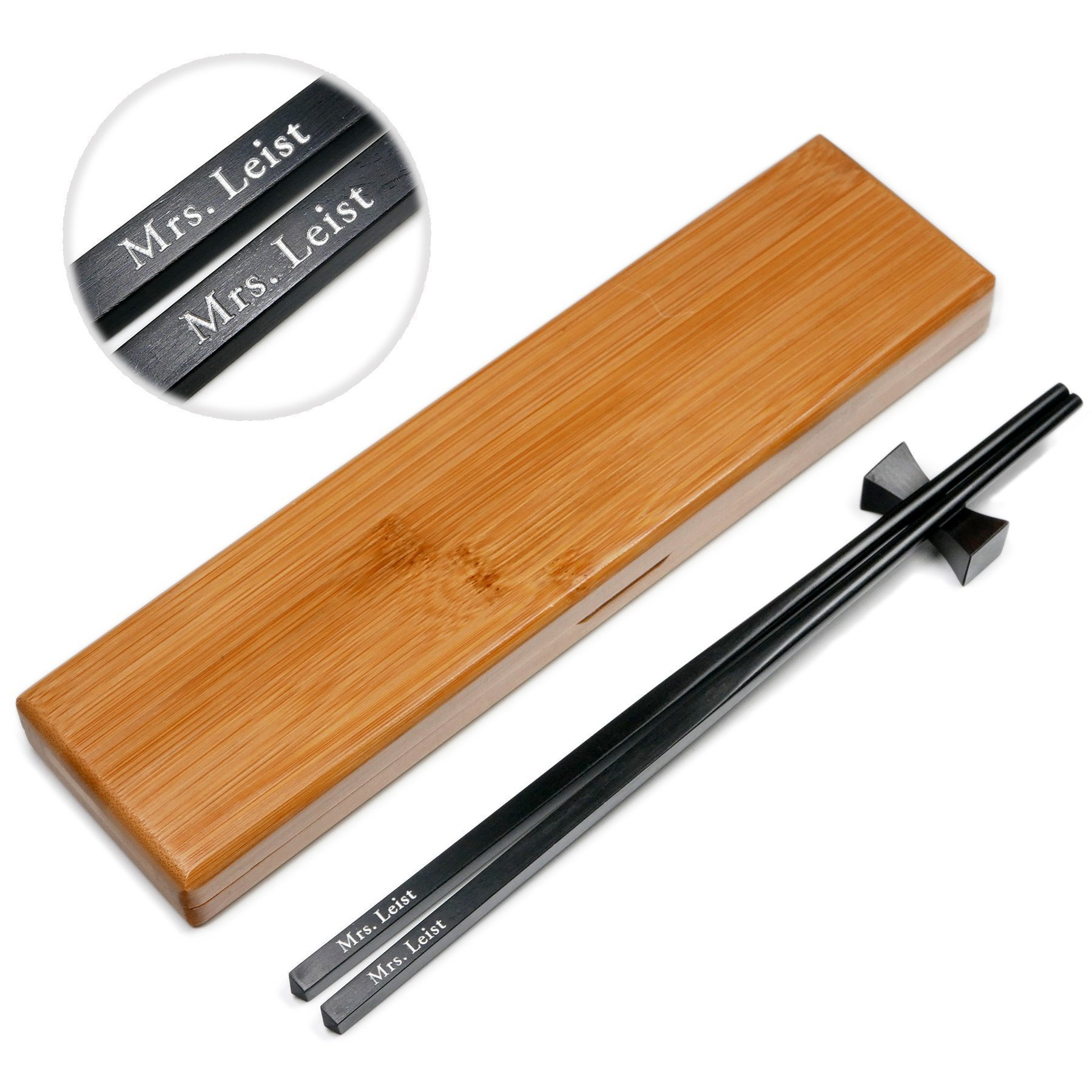 1 Pair Natural Black Ebony Wood Chopsticks - Custom Engraved With Personalized Names in Silver or Gold Color - In Classic Square handle Chinese or Japanese Style - Gift Set With Rest and Bamboo Case