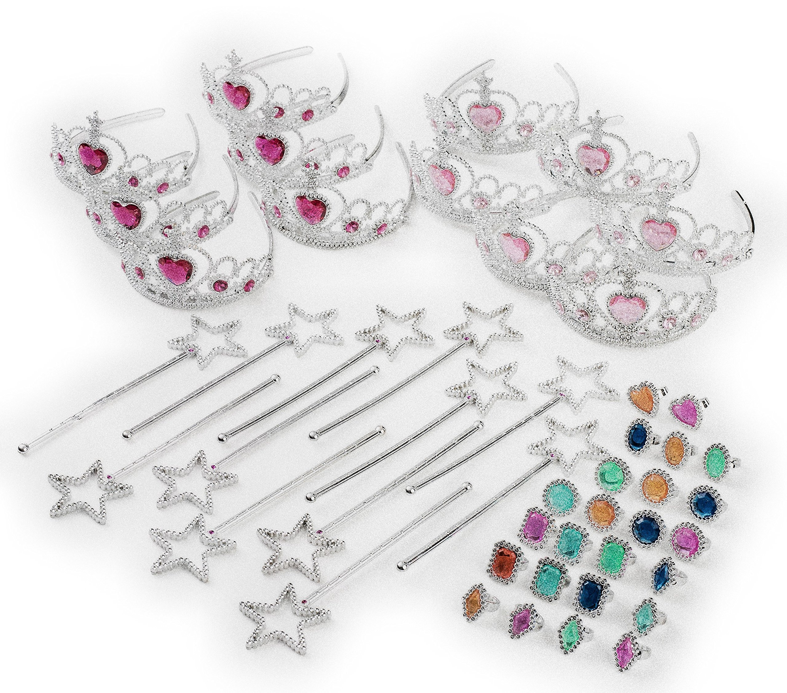 Princess - Tiara Dress Up Play Set - Crowns, Wands, and Jewels - Princess Girls Party Favors - Princess Costume Party Play Set, Includes 12 Princess Crown Tiaras, 12 Wands, 24 Asst Rings Mega 48 Piece