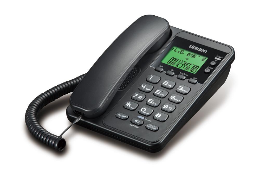 As6404bk Uniden Corded Analog Landline Caller Id Phone