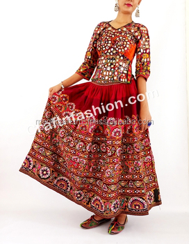 3414cb7ff0 TRIBAL EMBROIDERED Banjara skirt- GUJRATI RAJASTHANI MIRROR WORK SKIRT-  RABARI KUTCH HANDMADE BANJARA SKIRT