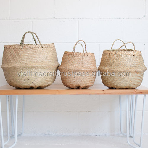 Natural small folding seagrass basket, panier basket