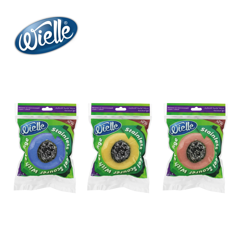 Wielle Stainless Steel Scourer With Sponge High Quality Turkey