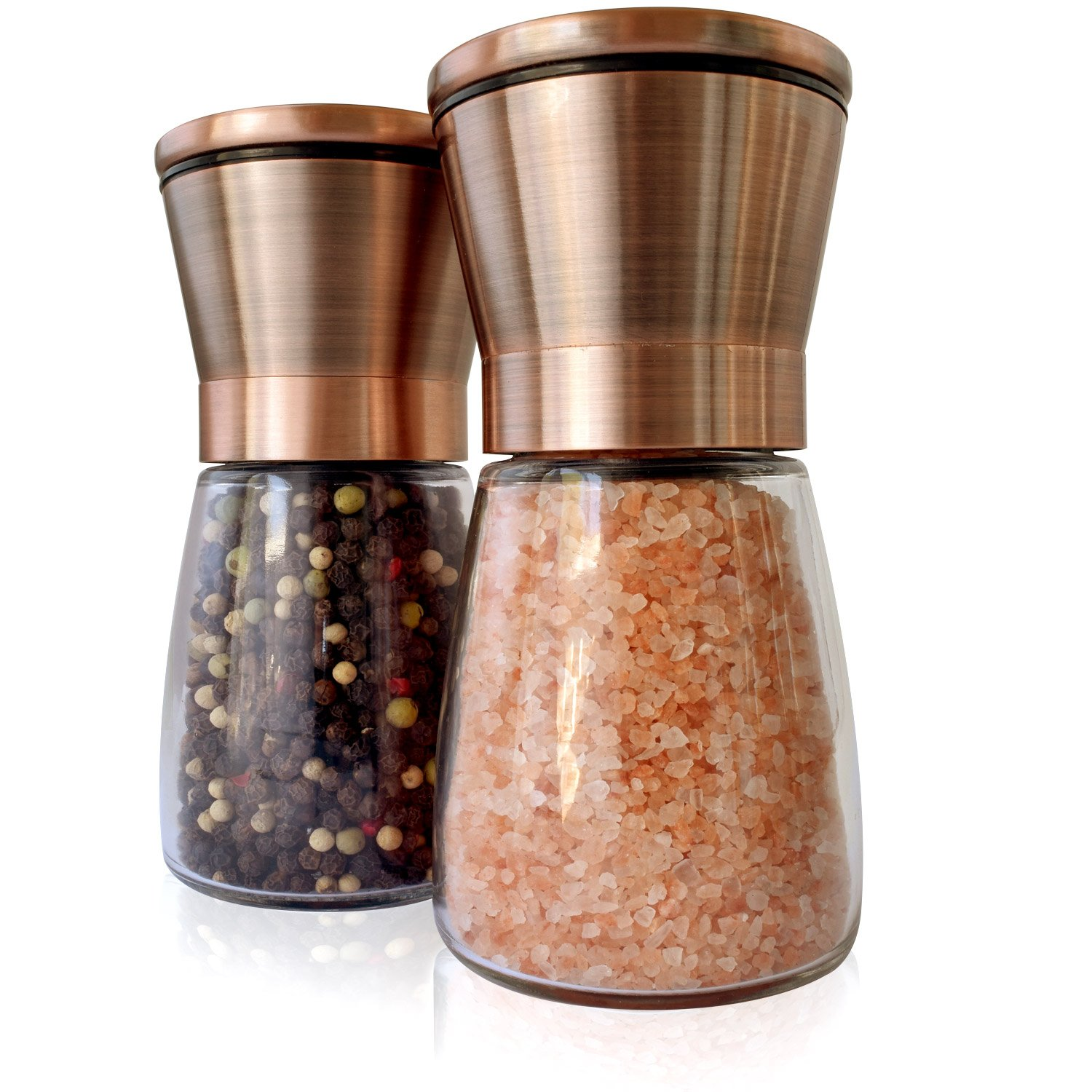 Premium Salt & Pepper Grinder Set | Brushed Copper, 18/8 Stainless Steel Lids and Glass Shakers, Set of 2 | Grinder/Mill with Adjustable Coarseness | by Premium Home Quality (6oz)