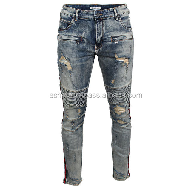Uomo Used Skinny Fit Strappato Zipper Biker Jeans Destroyed Denim Pantaloni
