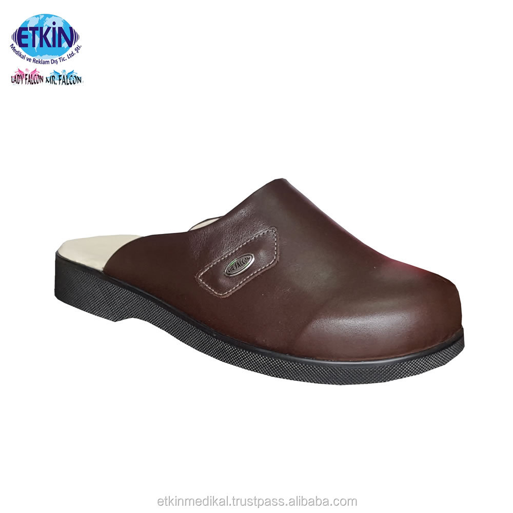 Breathable Sweat Anti High Genuine Footwear Leather Quality Diabetic Slippers AtvqA6wFW