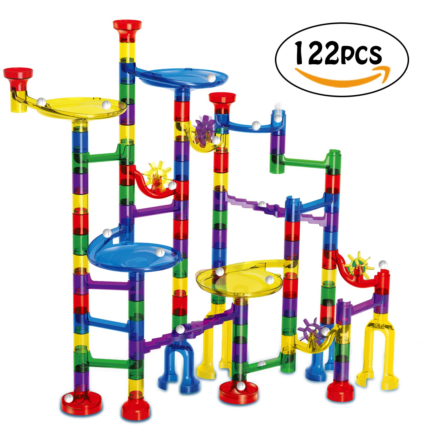 Marble Run Toy - Meland 122 Pcs Pipeline Game STEM Learning Toy, Educational Construction Building Blocks Toy Set, Gift for Kids 4 5 6 + Year Old Boys Girls
