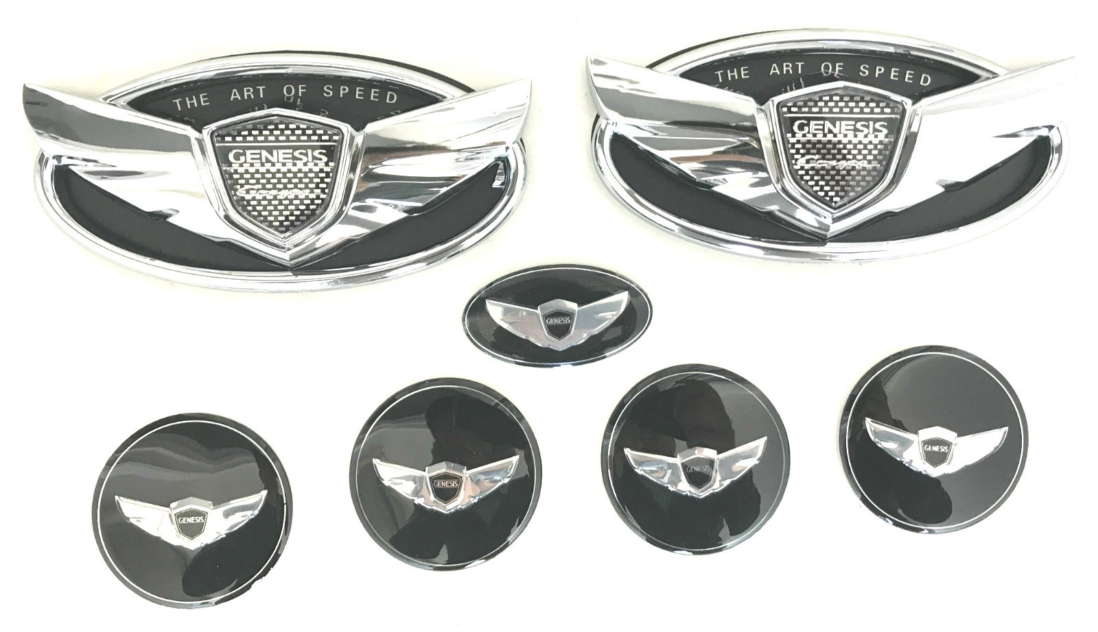 """Exotic Store 7 Pieces 2010-2017 Fit for Hyundai Genesis """"ART OF SPEED""""Coupe Chrome Black WING Logo Front+ Trunk+ Steering wheel+ Rim center Caps Stickers TURBO Kit Emblem Badges (CHROME)"""