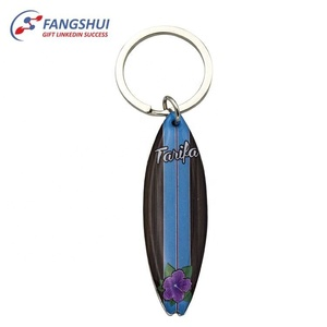 Personalized souvenir gift custom surfboard keychain for travel