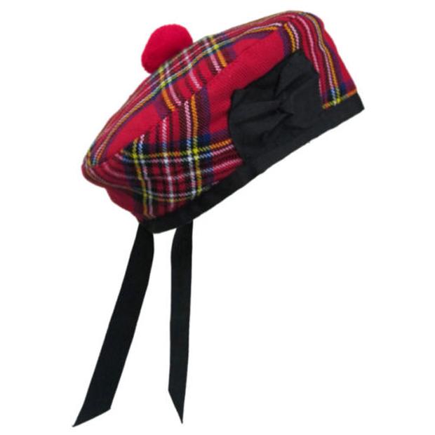 Vestido de Disfraz Escocés Escocia Jengibre Tartan Red Hat Tam O Shanter con peluca de pelo