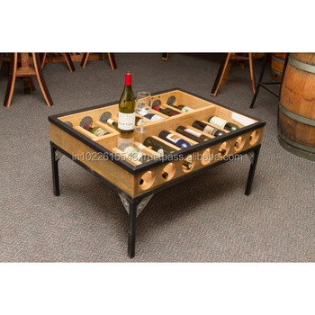 Industrial Glass Top Wine Storage Coffee Table Vintage Metal