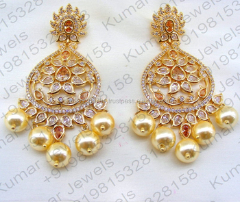 Latest Rose Gold Color Golden Plated Cz Uncut Polki Pearl Beaded Hanging Party Wear Earrings