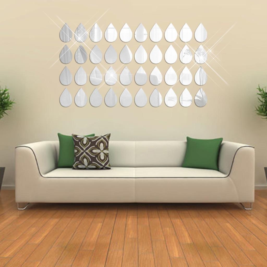 Rumas 50Pcs 3D Mirror Raindrop Vinyl Removable Wall Sticker Decal Home Decor Art DIY (Silver)