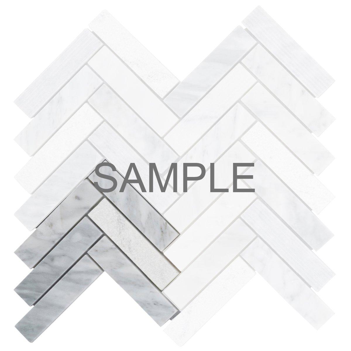 Modket TDH72MO-S Sample Cream Beige Crystal Glass Mosaic Tile Matte Blended Herringbone Pattern Backsplash Metallic Cold Spray
