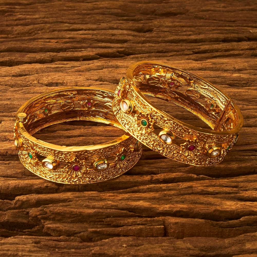 Classic Bangles with gold plating 17273 Rubygreen
