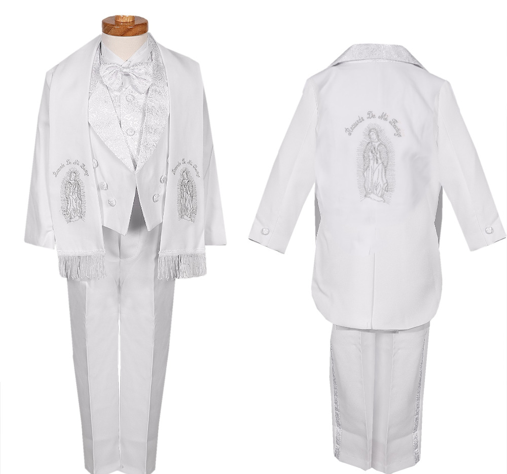 BOYS WHITE SILVER TUXEDO FORMAL SUIT COMMUNION BAPTISM ESTOLA 5 PC SET