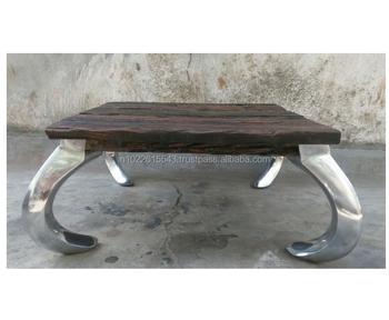 Rail Wood Steel Leg Coffee Table Buy Stainless Steel Coffee Table Rustic Wood Coffee Table Inlaid Wood Coffee Table Product On Alibaba Com