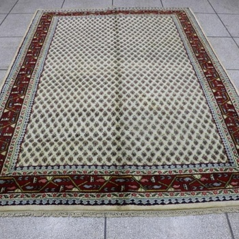 Persian Rug Senneh Carpet White Off Cream And Red Color Vintage