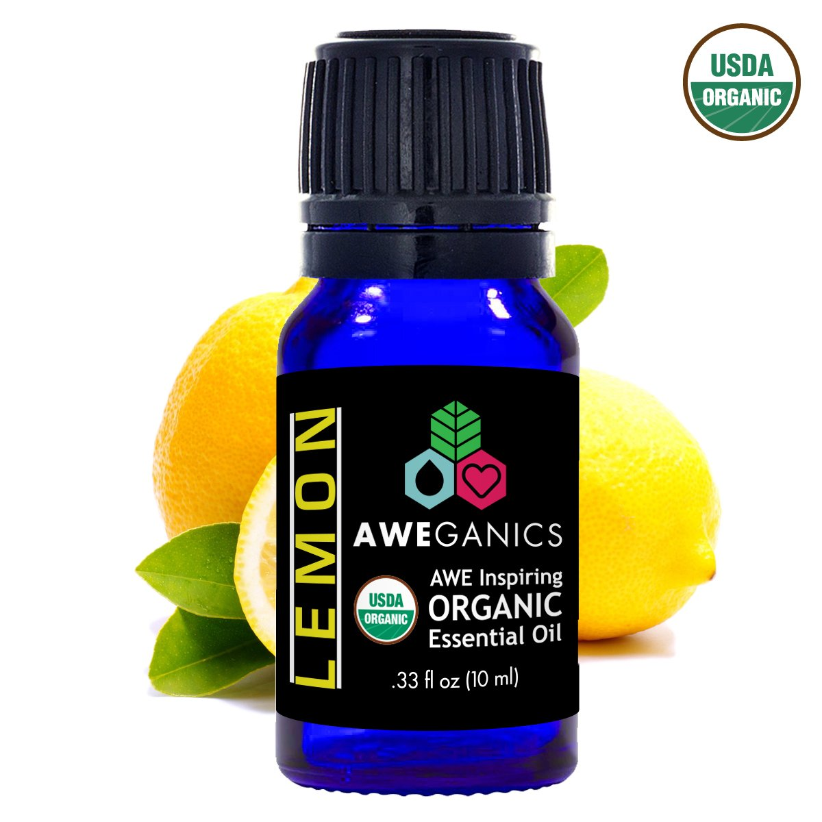 Aweganics Pure Lemon Oil USDA Organic Essential Oils, Premium Citrus Limon 100% Pure Natural Therapeutic-Grade, Best Aromatherapy Scented-Oils for Diffuser, Skin, Face, Bath, Hair 10 ML MSRP $14.99