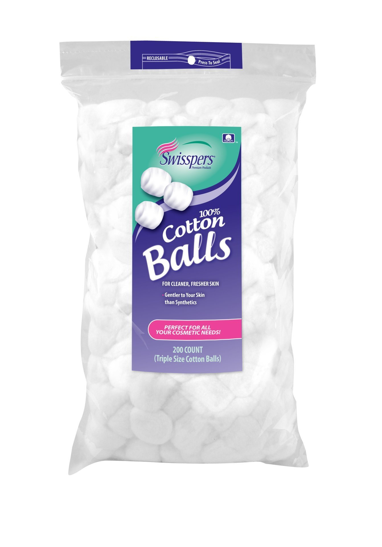 Swisspers Multi Care Cotton Balls, Triple Size, 200 Count, 4.75-Ounce (Pack of 24)