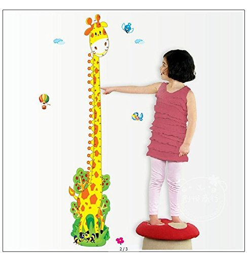 "Homefind (23"" w x 61"" h Removable Adorable Giraffe Height Chart Growth Chart Wall Sticker Wall Decor Wall Decal for Kids Children Room Removable Nursery Baby Room Wall Decoration (Tree Giraffe)"