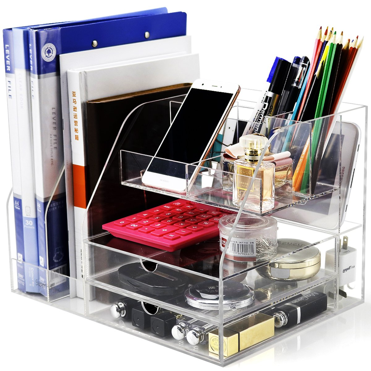 Get Quotations · Clear Acrylic Desk Organizer For Office/School/Home  Accessories Organization   Large Office Supplies
