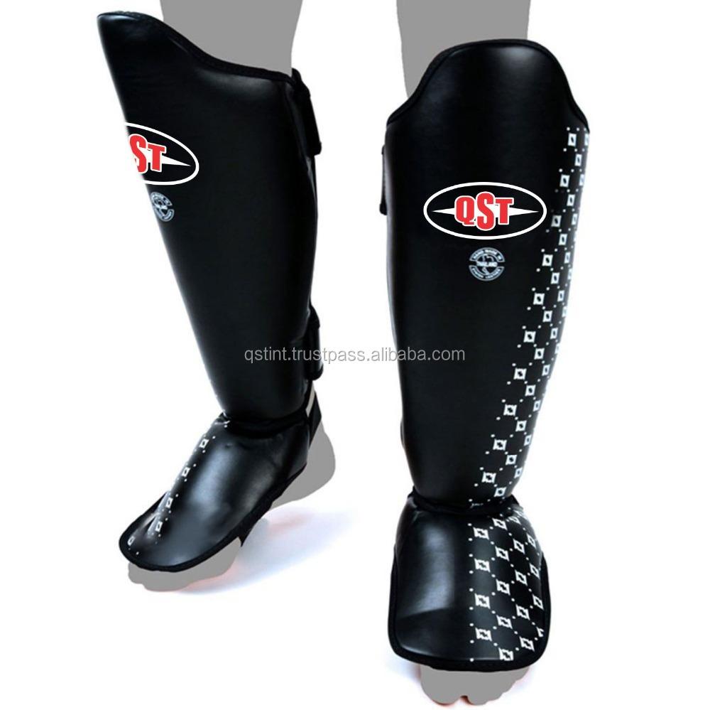 SHIN GUARD INSTEP PADS MMA UFC FOOT LEG-KICK GUARD MUAY THAI BOXING LEATHER