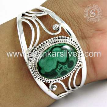 Rattling green malachite bangle gemstone jewellery 925 sterling silver jewelry wholesalers