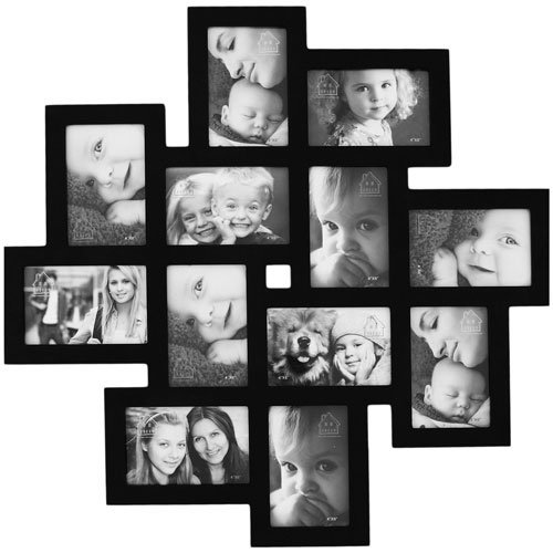 Asense 12 Openings Decorative Wall Hanging Collage Picture Photo Frame, Wood Frame, Black Color, Made To Display 4X6 Inches Photo