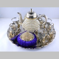 Silver Color Pearl Coated Gold Turkish Tea Cups Set With Tea Pot
