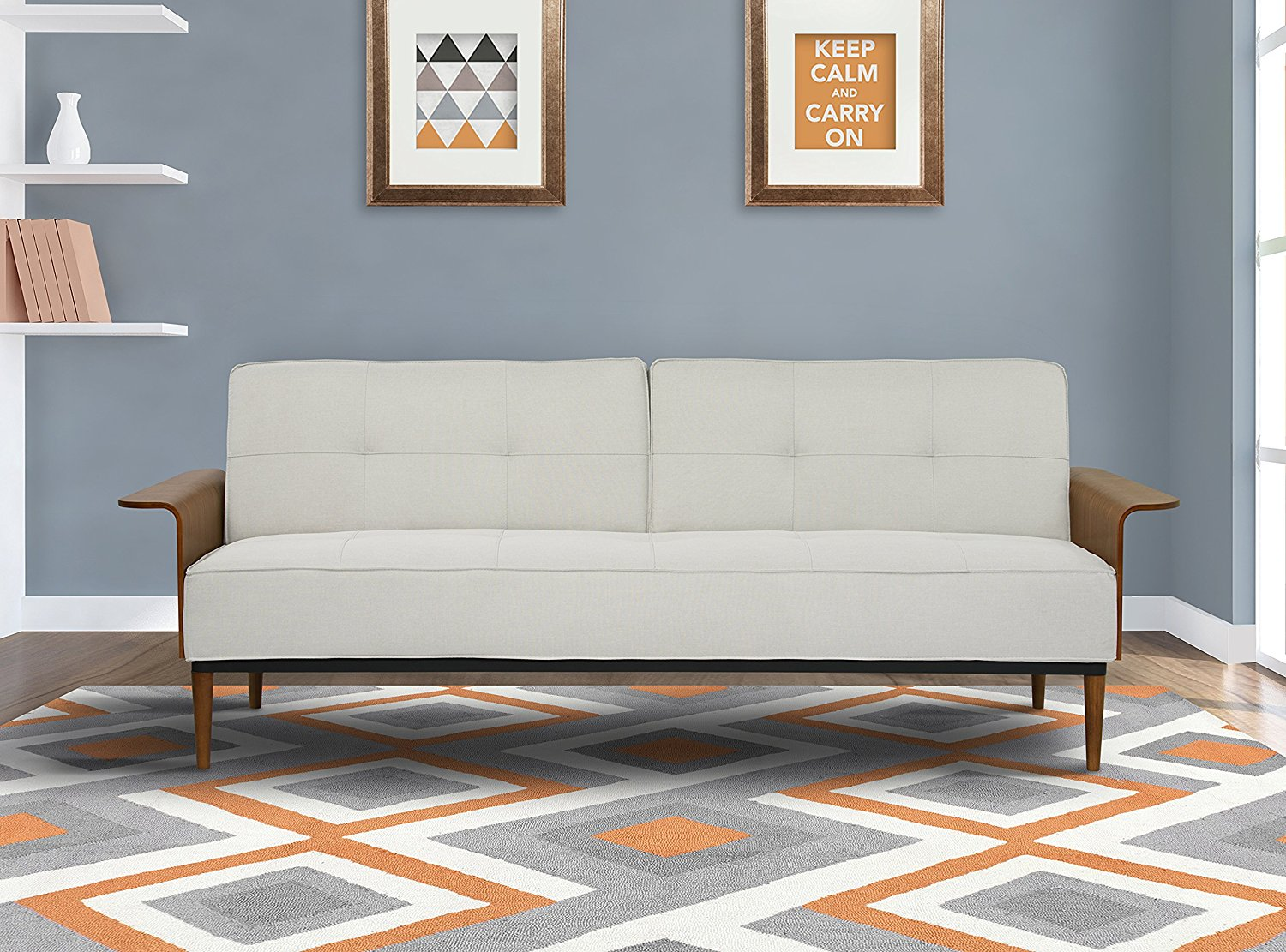 Get Quotations · Armen Living LCMOSOBE Monroe Convertible Futon In Beige  Fabric And Walnut Wood Finish