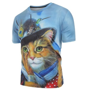 Unisex Cat with Cap Print Casual Short Sleeves T shirt Export quality branded t shirt summer vacation t shirt