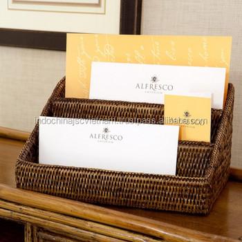 Natural Eco friendly Rattan Desk Organizer/ Letter Holder   Buy