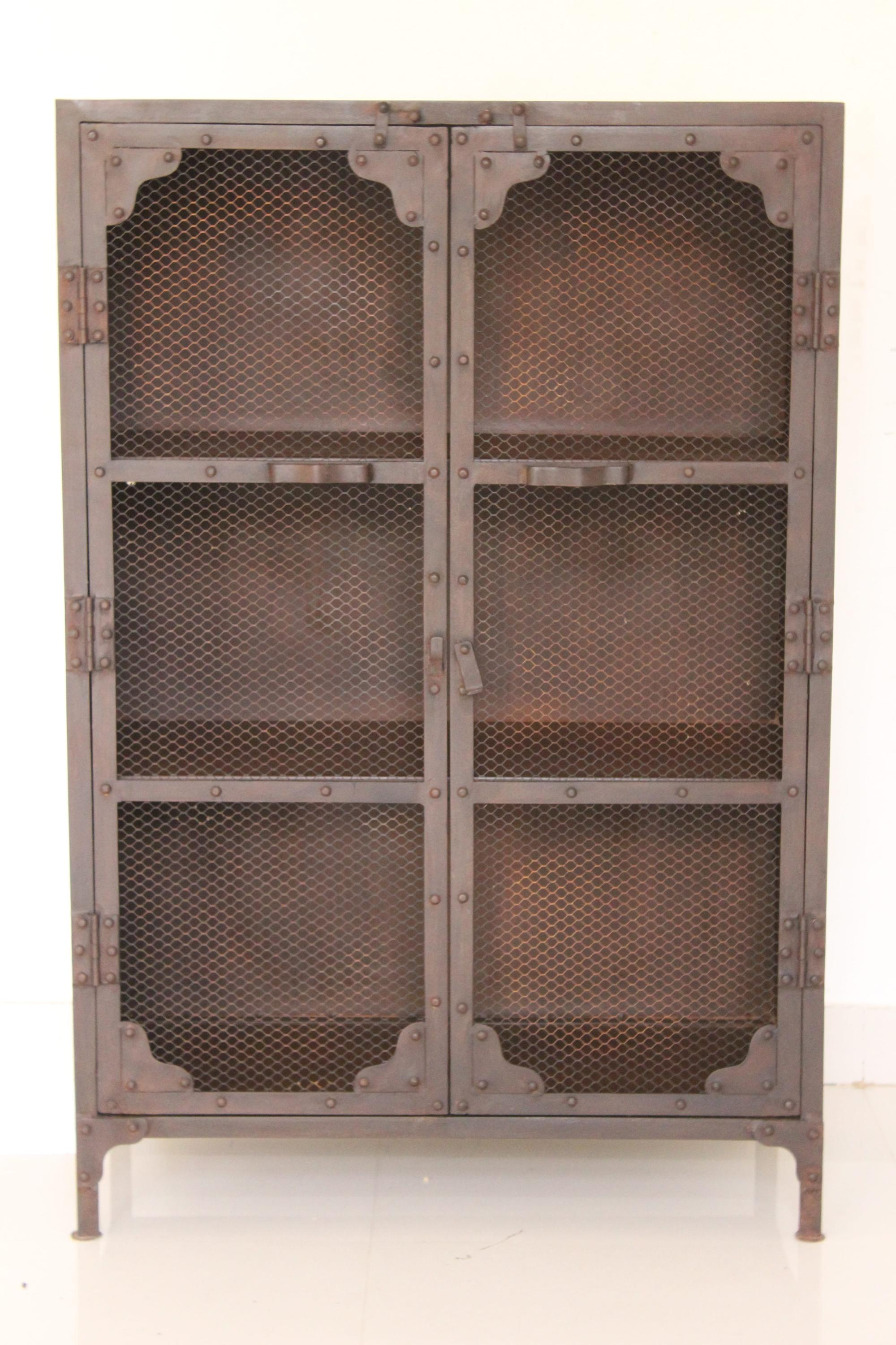 Antique Indian Iron Jali Cabinet Industrial And Vintage ...