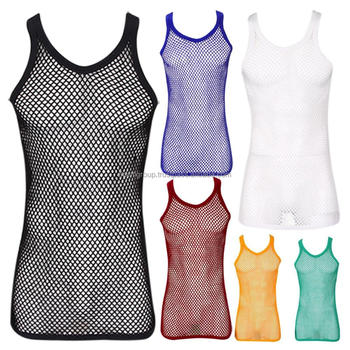 fbd816a957ab3 Mens String Mesh Vest Fitted 100% Cotton Gym Tank Top Training T shirt Fish  Net