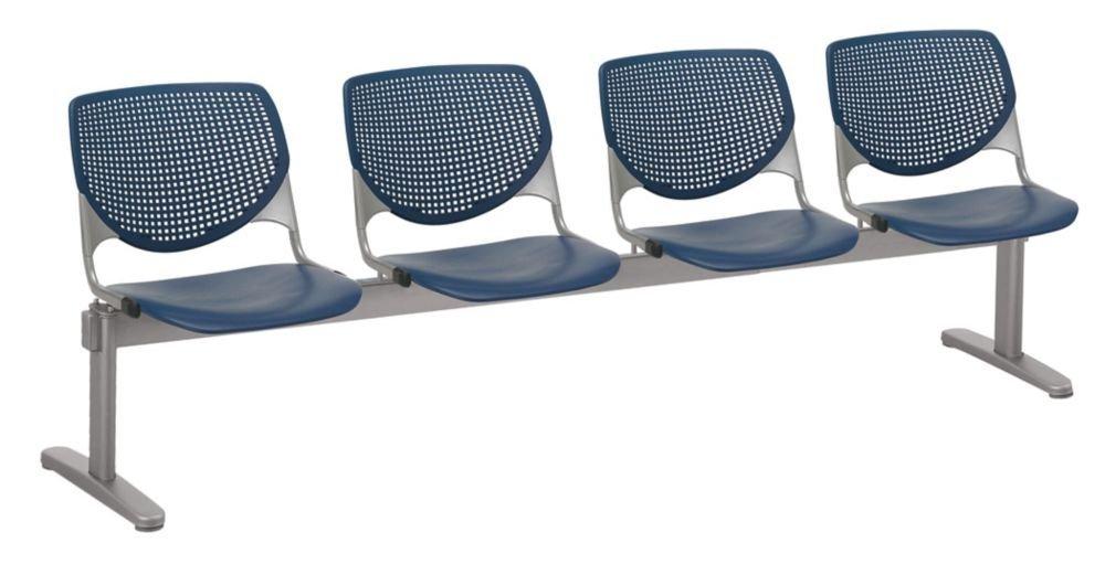 "Kool Polypropylene Four Seat Beam Seating Navy Polypropylene/Silver Frame Dimensions: 95""W x 22""D x 31""H Seat Dimensions: 18""Wx18""Dx18""H Back Dimensions: 19""Wx13.5""H Weight: 101 lbs"