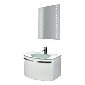 """Nameeks CD16 ACF 27-3/5"""" Wall Mounted Vanity Set with Wood Cabinet, Glass Top wi, Glossy White"""