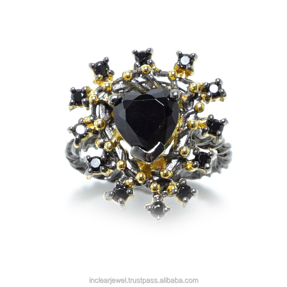 Ring, rope, Heart, Black CZ, Black Rhodium and gold plated.