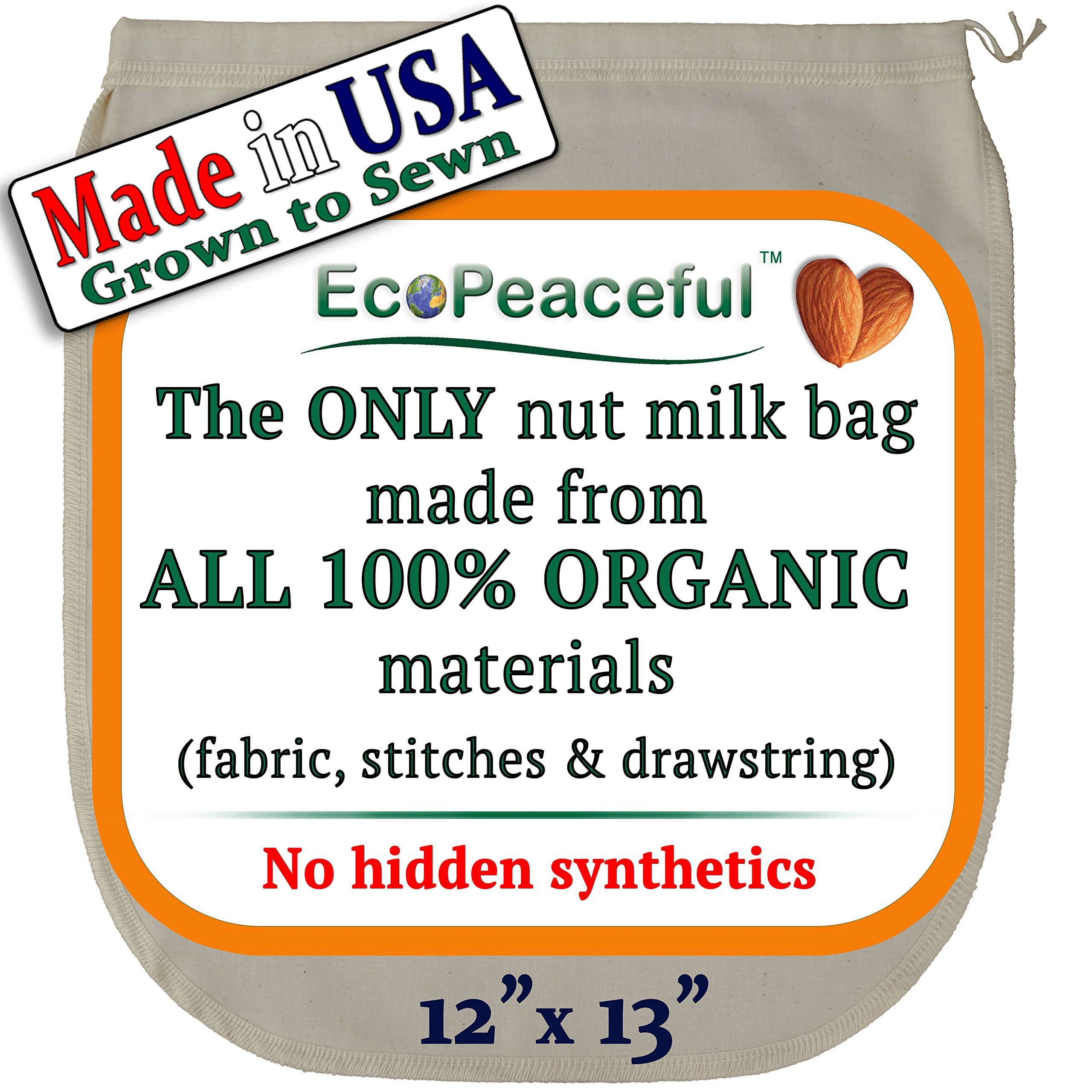 Organic Nut Milk Bag - The ONLY All 100% Organic Nut Bag (See our: Fake Organic Warning) - All Natural Reusable Organic Cotton Nut Milk Bag Strainer - Made in USA. Dairy-free Recipes, Videos & Support